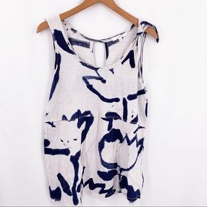 Pure + Good blue tulip painting tank top small